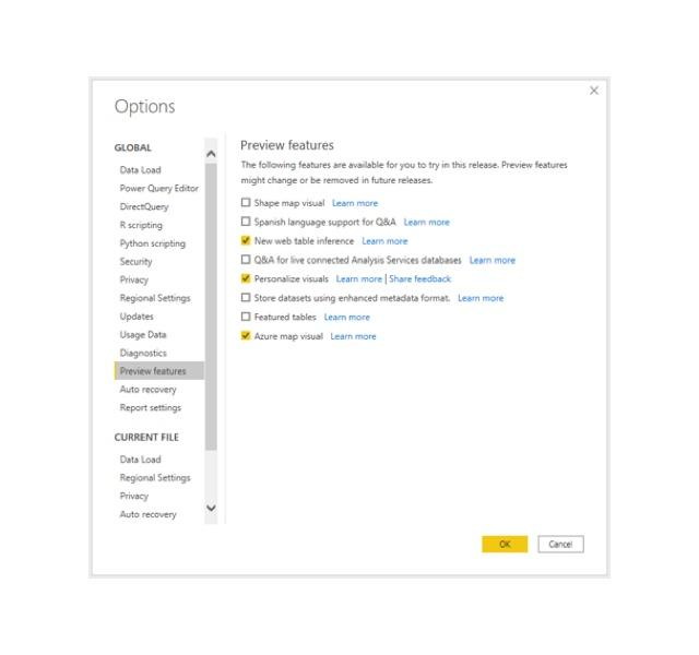 Power bi preview features